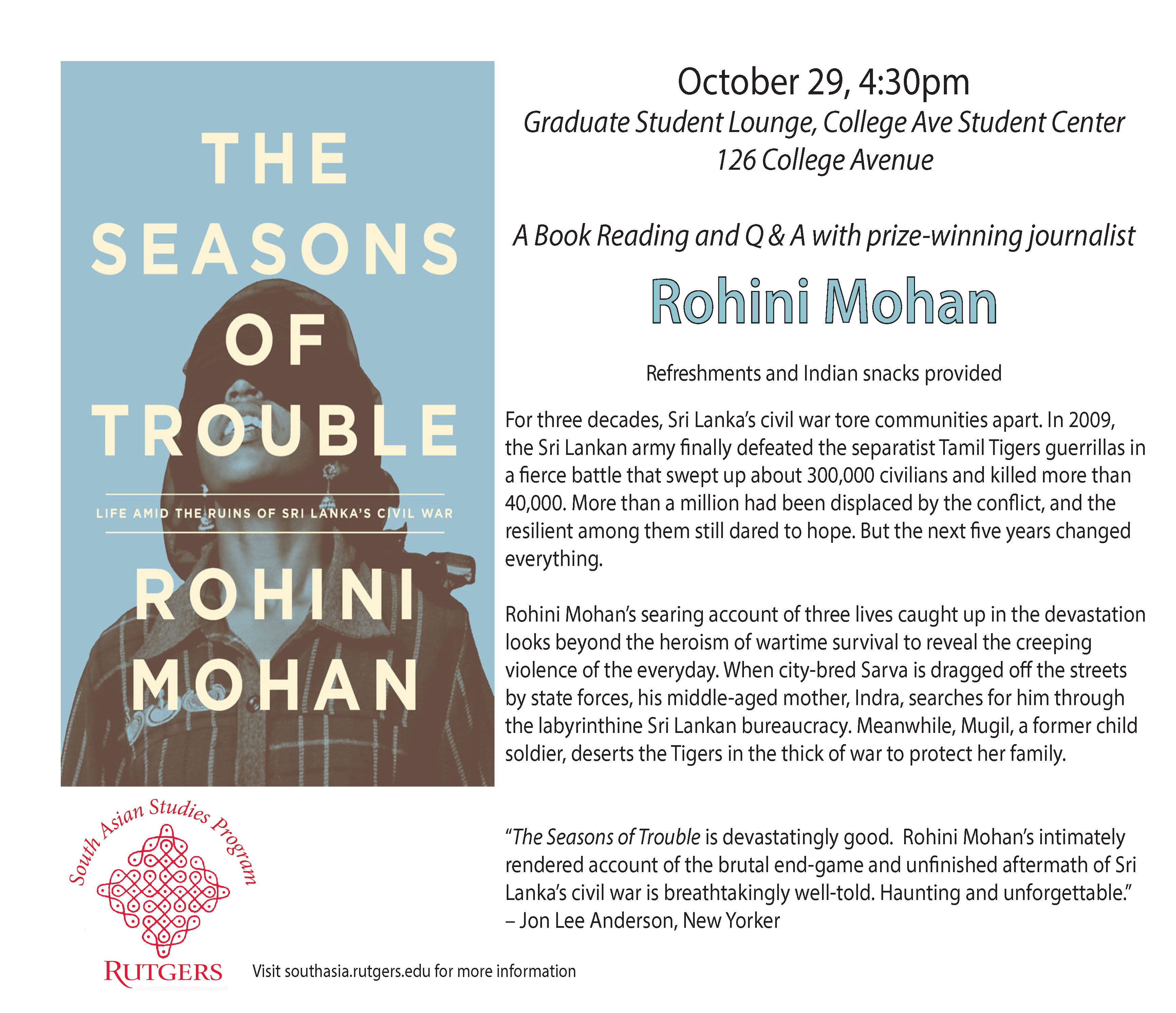 Rohini Mohan Book Reading 2014